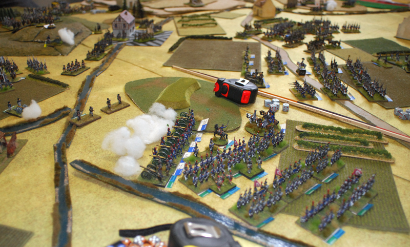 Silesian shutzen open fire against guard artillery.