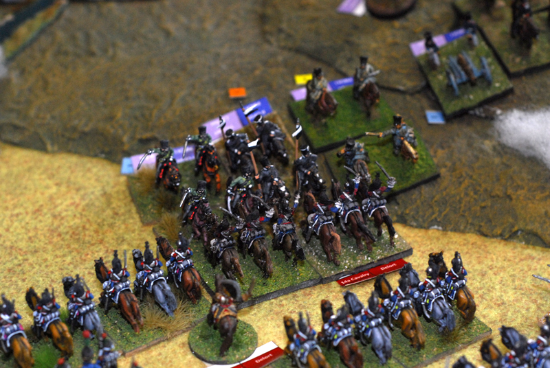 Prussian cavalry moves against a curassier regiment without success.