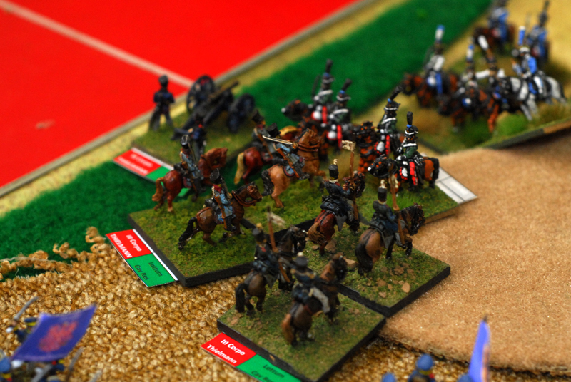 French Hussar charge a Prussian battery, 2 units from Lottum division support the artillery and smash the Hussar.